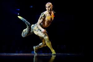 "Viktor Kee portrays Cali, Miranda's overprotective pet, in Cirque du Soleil's ""Amaluna""."