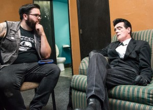Ryan Cadaver (left) talks shit (middle) with Unknown Hinson (right). Photo by Kevin Mayfield.