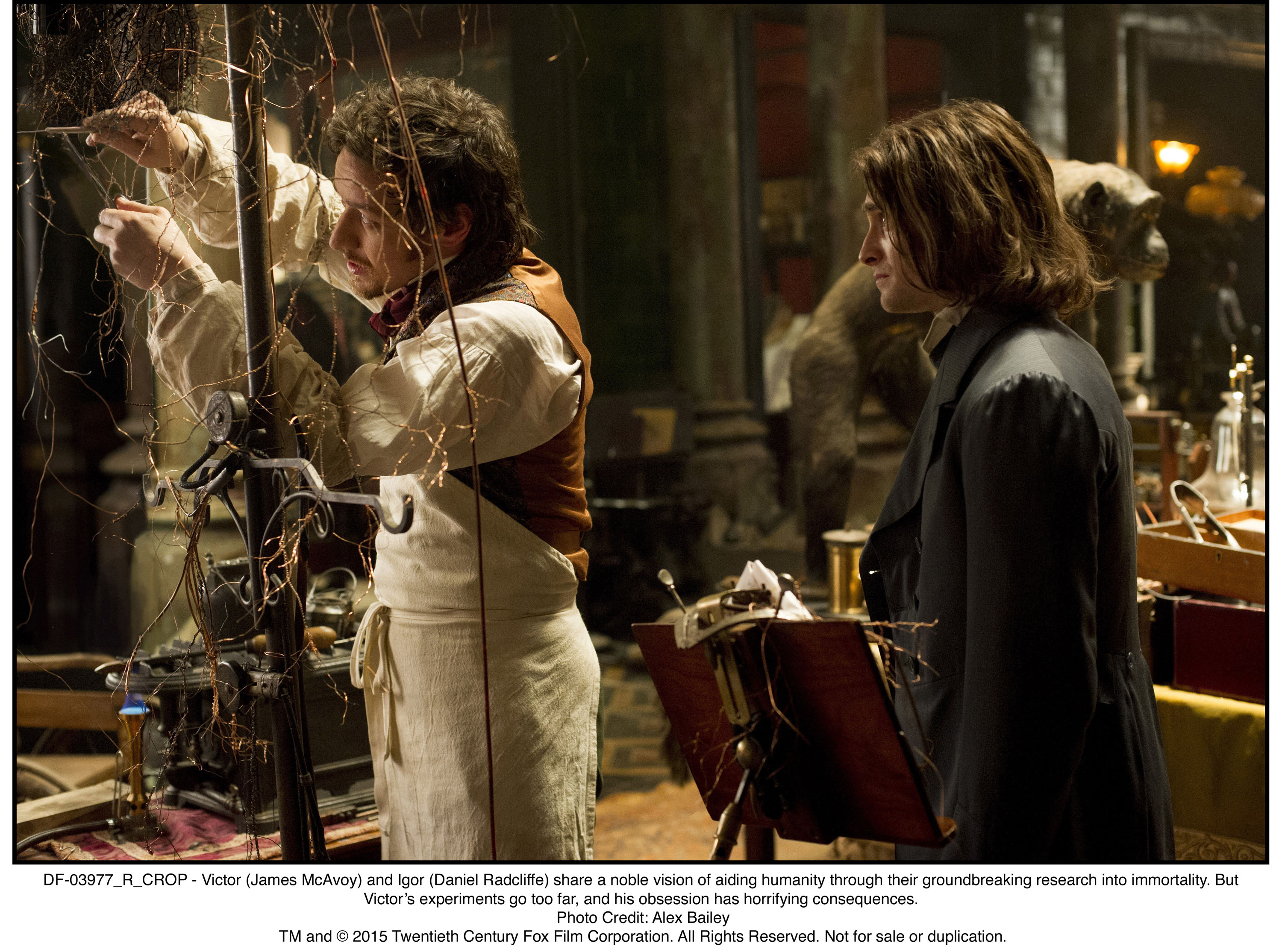 "a victor frankenstein Daniel radcliffe and james mcavoy star in a scene from the movie ""victor  frankenstein"" the catholic news service classification is a-iii."