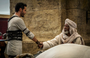 "Jack Huston as Judah Ben-Hur and Morgan Freeman plays Sheik Ilderim, one of the more commanding presences in ""Ben-Hur""."