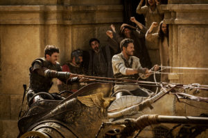 Toby Kebbell as Messala Severus does battle with Ben-Hur in the climactic chariot race. Photo by Philippe Antonello.